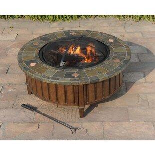 Sunjoy Pecan Steel Wood Burning Fire Pit Table