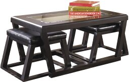 Latitude Run Preston Coffee Table With Nested Stools Reviews Wayfair