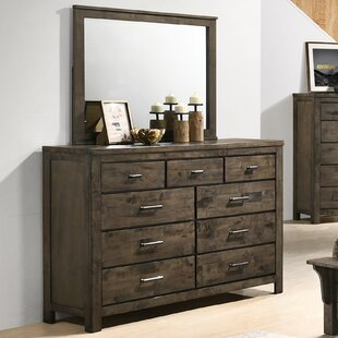 Teignmouth Weathered Distressed 6 Drawer Double Dresser with Mirror