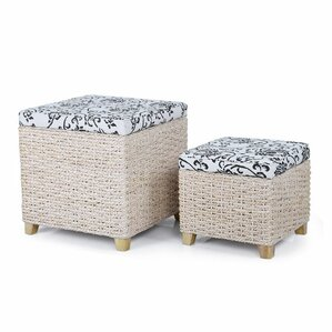 2 Piece Flowers Print Storage Ottoman Set by Adeco Trading