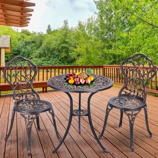 Ezekiel Outdoor Leaf 3 Piece Bistro Set