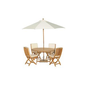 Cumbie 4 Seater Dining Set With Parasol By Beachcrest Home