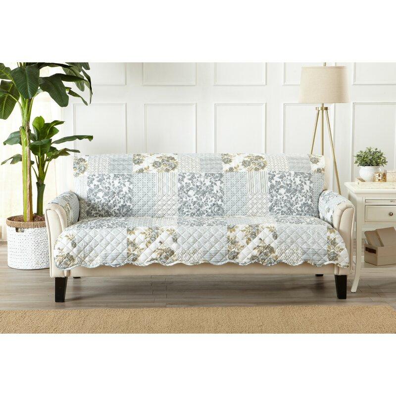 Patchwork Scalloped Printed Box Cushion Sofa Slipcover