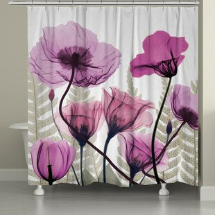 Affordable Price Fuchsia Floral X-Ray Shower Curtain ByEast Urban Home