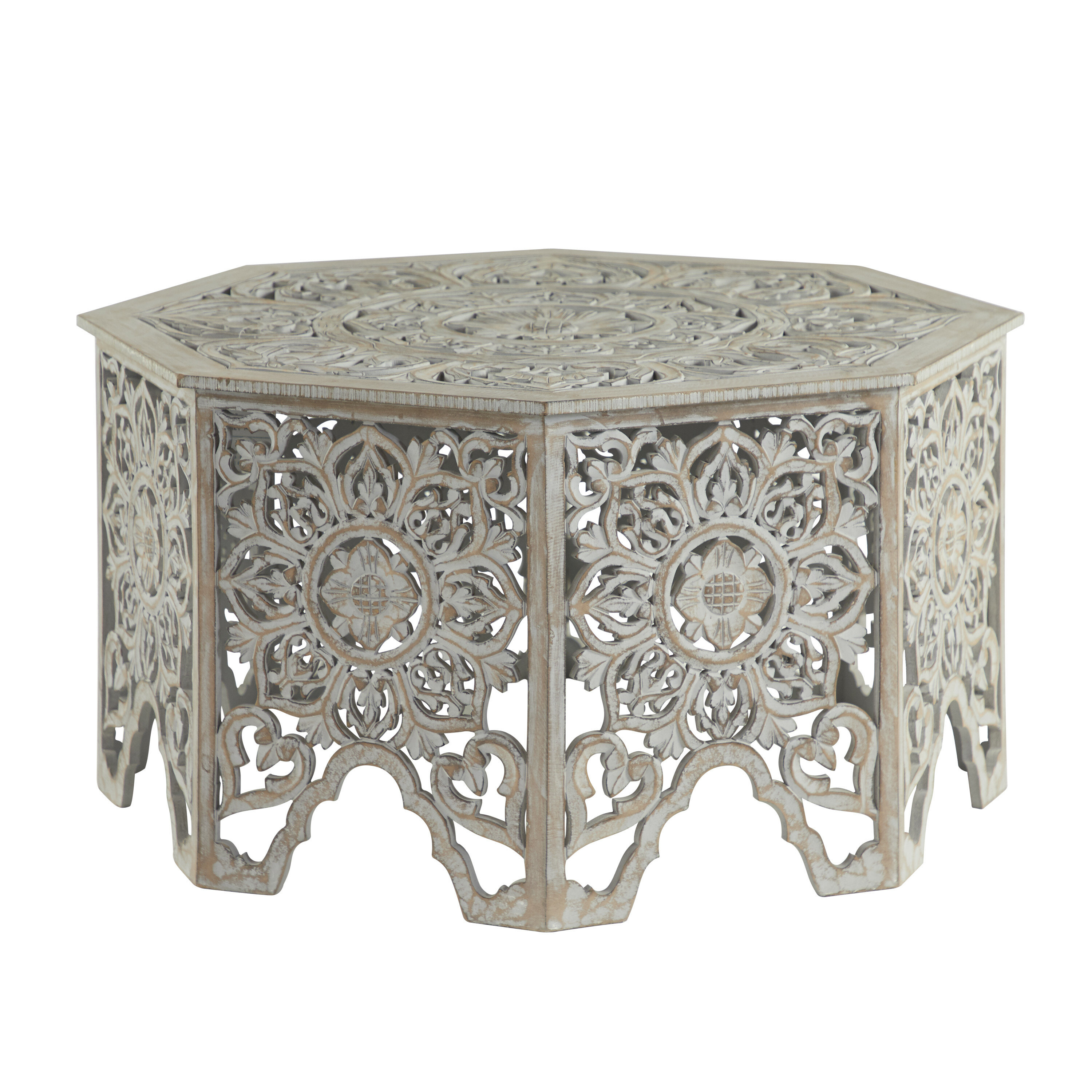 """Grey-Washed Decorative Carved Wood Coffee Table, 7"""" X 7"""""""