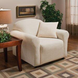 Stretch Microfleece Box Cushion Armchair Sli..