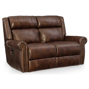 Shop Esme Leather Power Motion Loveseat with Power Headrest by Hooker Furniture