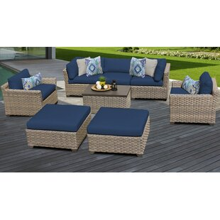 Monterey Outdoor 8 Piece Sectional Seating Group Set with Cushions by TK Classics