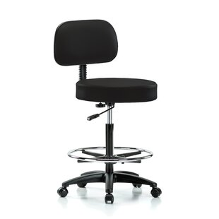 Height Adjustable Exam Stool With Basic Backrest And Foot Ring by Perch Chairs & Stools Herry Up
