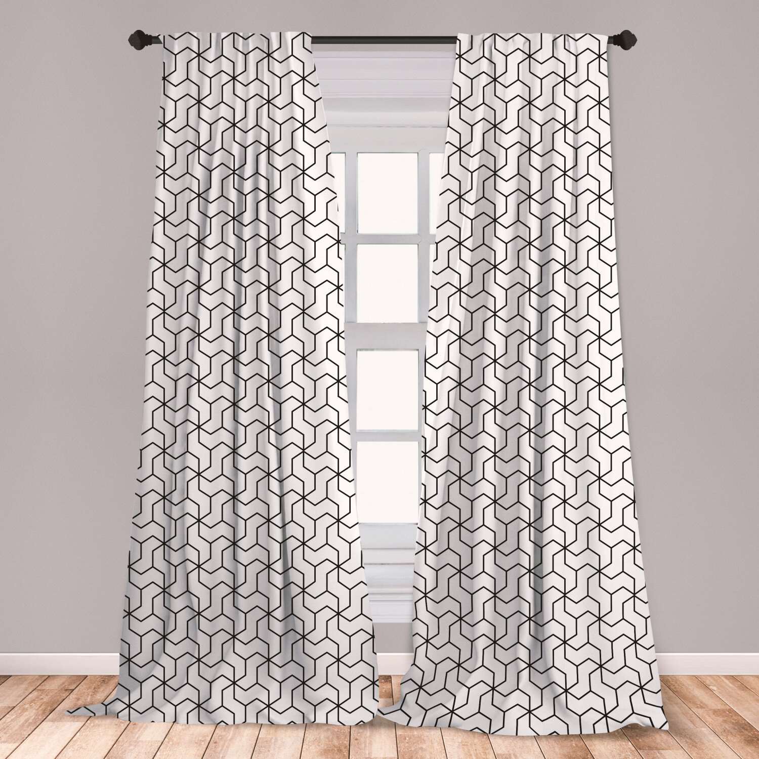 East Urban Home Ambesonne Black And White Window Curtains Geometric Arrangement With Monochrome Design Lines And Optical Illusion Lightweight Decorative Panels Set Of 2 With Rod Pocket 56 X 63 Black White