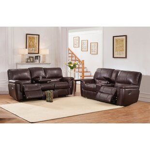 Deverell Reclining 2 Piece Brown Leather Reclining Living Room Set By World Menagerie