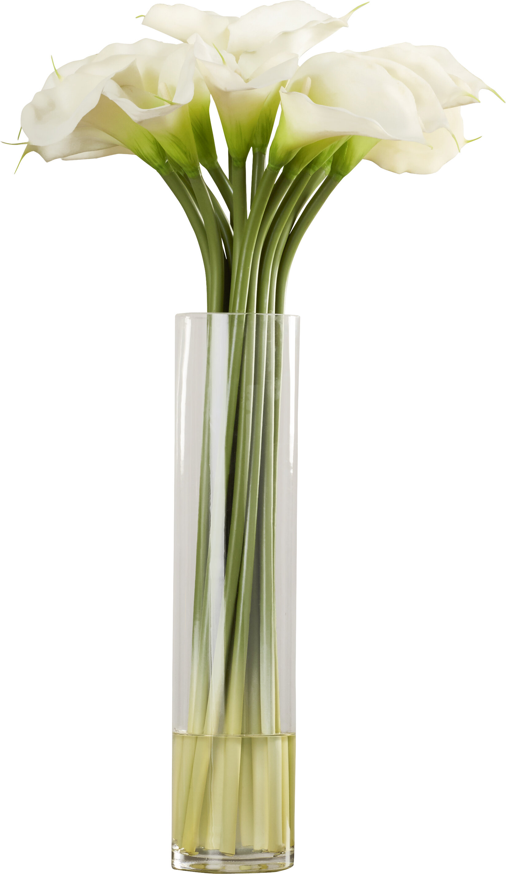 Calla Lily In Cylinder Silk Flower Arrangement Reviews Joss Main