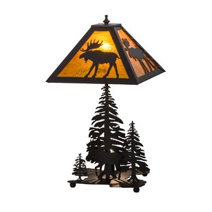 Moose Through the Trees Lighted Base 21 Table Lamp