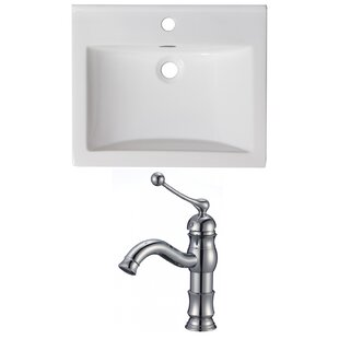 Great deal 1 Hole Ceramic Rectangular Drop-In Bathroom Sink with Faucet and Overflow By American Imaginations