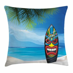 Tiki Bar Decor Tiki Surfboard Square Pillow Cover