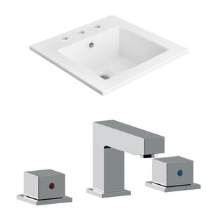Clearance 3 Hole Ceramic Rectangular Drop-In Bathroom Sink with Faucet ByAmerican Imaginations