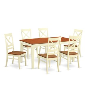 Pillar 7 Piece Rubberwood Dining Set August Grove