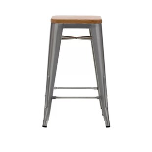 Cocchiara 26 Bar Stool with Wood Seat (Set of 4) Gracie Oaks
