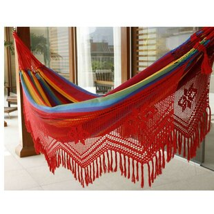 Double Person Fair Trade Festive Icarai Rainbow' Hand-Woven Brazilian Sustainable Cotton with Crocheted Fringes Indoor And Outdoor Hammock