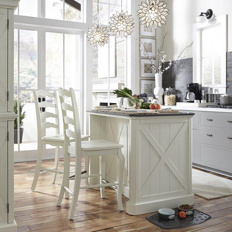 Moravia 3 Piece Kitchen Island Set With Engineered Quartz Top