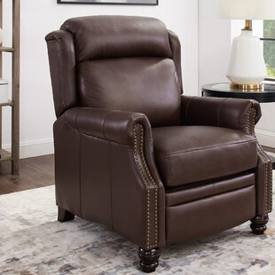 Yearwood Wingback Premium Leather Manual Glider Recliner