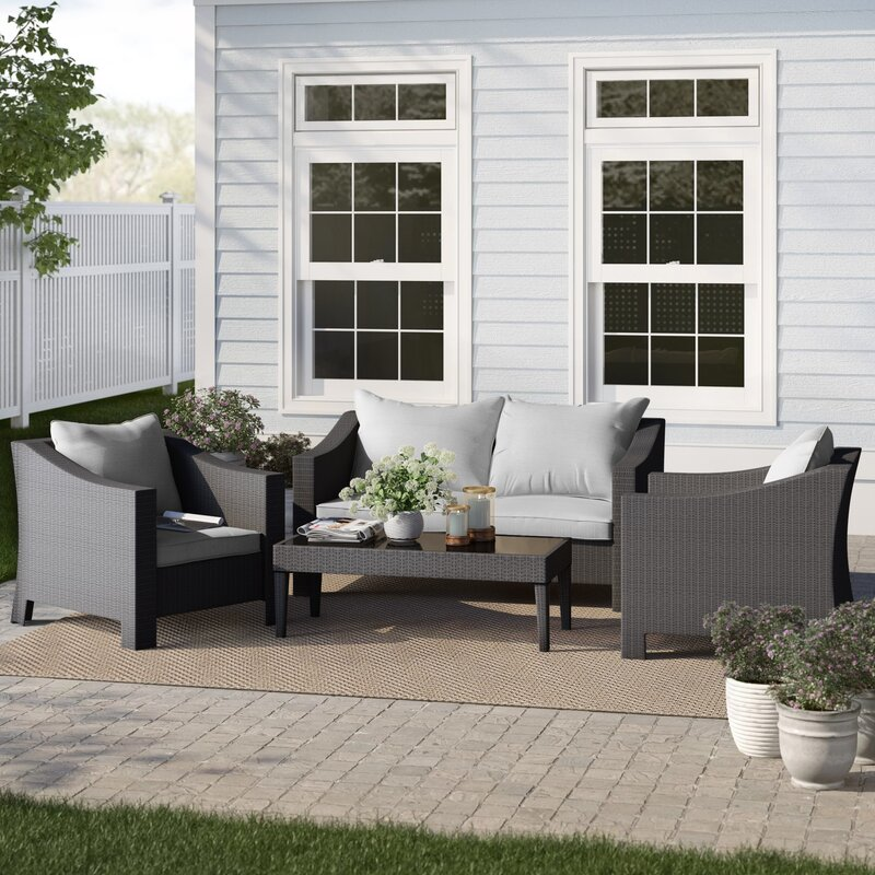 Sol 72 Outdoor Portola 4 Piece Rattan Sectional Seating Group With Cushions Reviews Wayfair