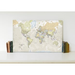 Large framed world map wayfair classic world map graphic art print on canvas gumiabroncs Choice Image