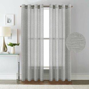 Angeline Breathable Mixed Linen Sheers Nickel Grommet Curtain Panels Set Of 2