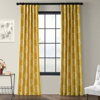"Half Price Drapes Isles Printed Cotton Damask Rod Pocket Single Curtain Panel Size per Panel: 50"" W x 84"" L"