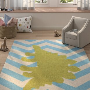 Big Save Bret Hand-Tufted Blue/White Area Rug ByHarriet Bee