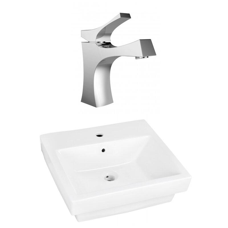 Avanities Above Counter Ceramic Rectangular Vessel Bathroom Sink With Faucet And Overflow Wayfair