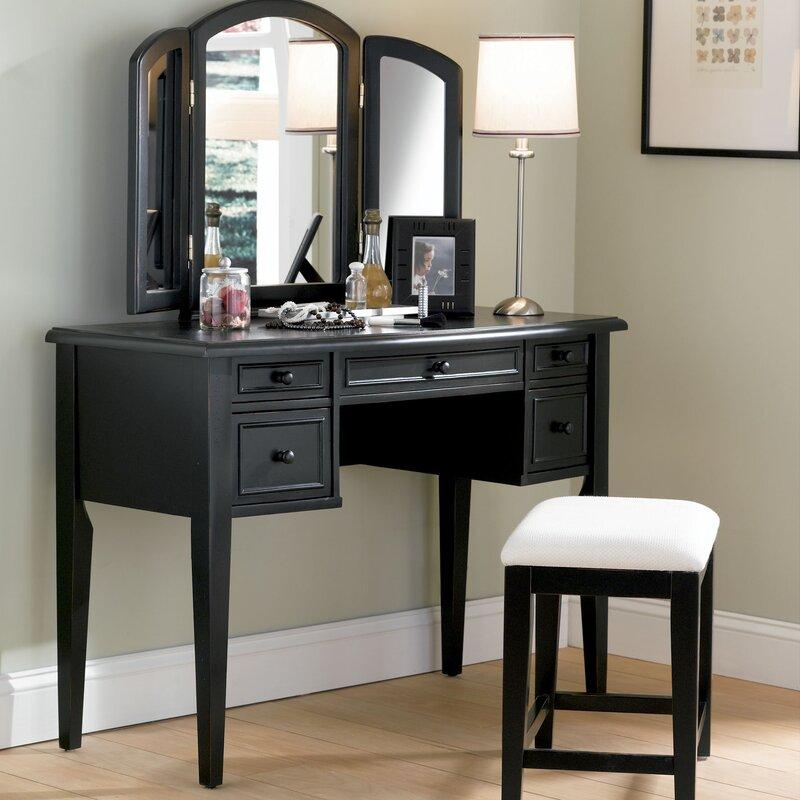 default_name - Powell Antique Black Vanity Set With Mirror & Reviews Wayfair