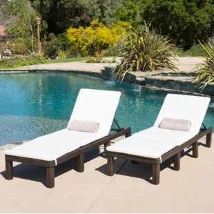 emelda reclining chaise lounge with cushion set of 2 - Patio Lounge Chairs