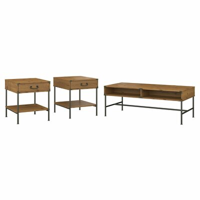 Ironworks 3 Piece Coffee Table Set Kathy Ireland Office by Bush