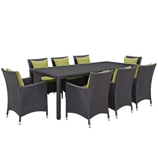 Latitude Run Ryele 9 Piece Outdoor Patio Dining Set with Cushions