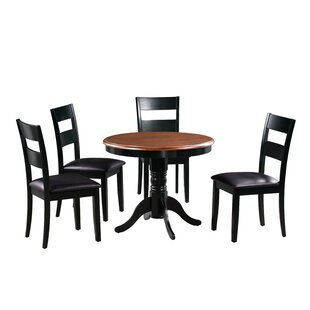Dahlberg 5 Piece Solid Wood Dining Set August Grove