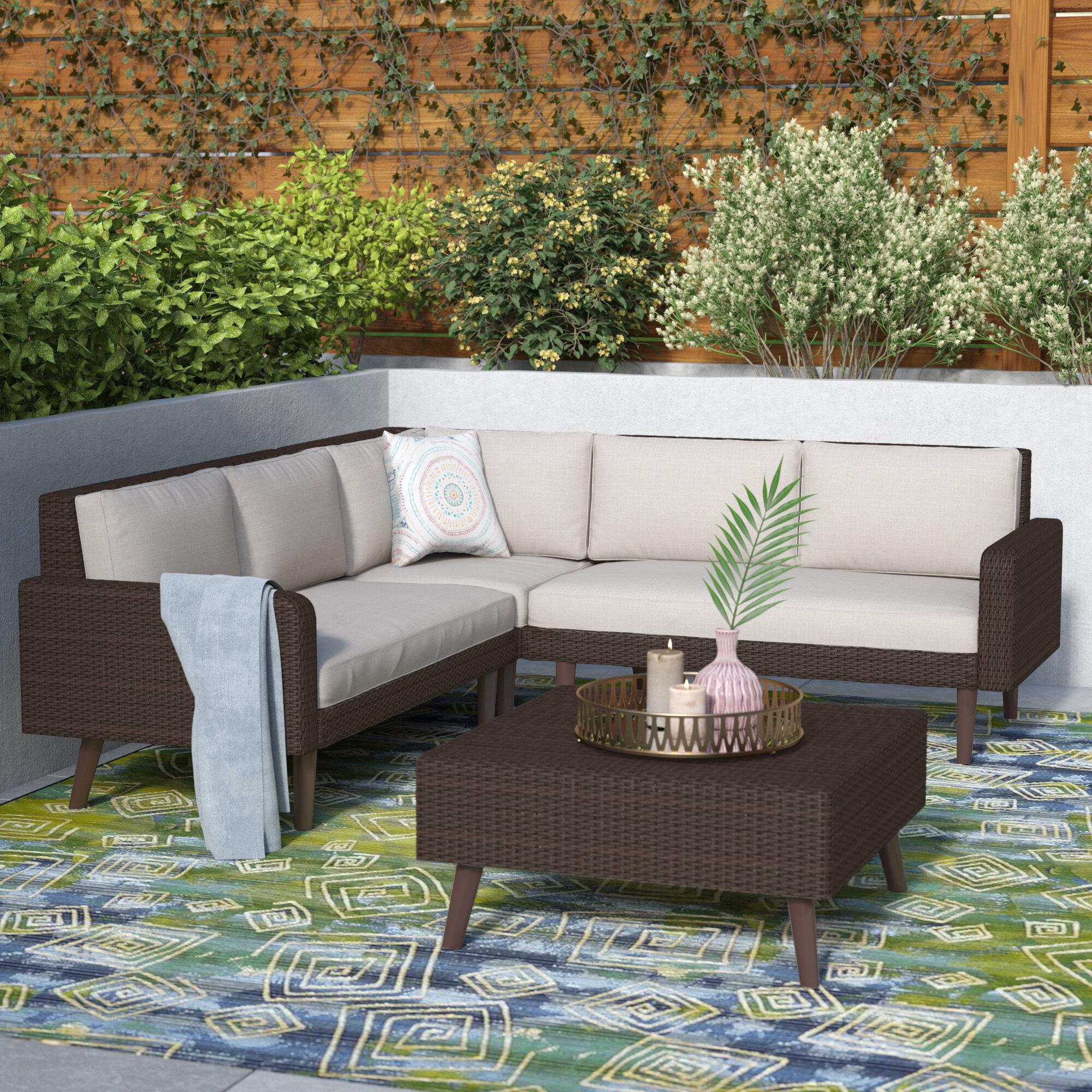 Mistana Harlesden 4 Piece Sectional Set With Cushion Reviews Wayfair