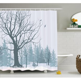 Burwinda Winter Theme a Tree Without Leaves Single Shower Curtain