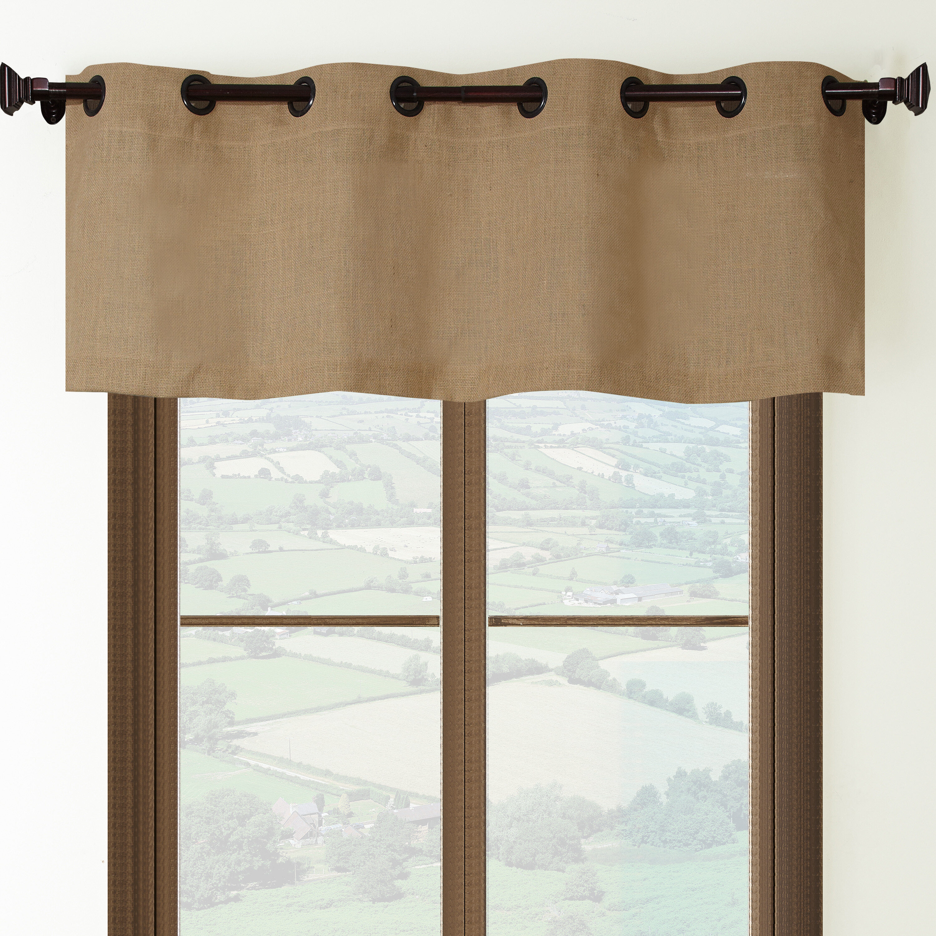 Charlton Home Mccollom Burlap Grommet Top 54 Window Valance Reviews Wayfair