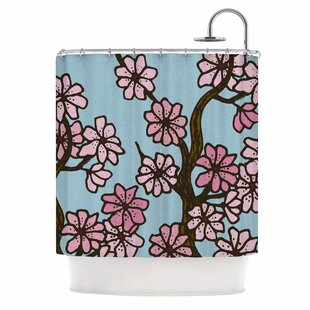 Cherry Blossom Day By Art Love Passion Floral Illustration Single Shower Curtain by East Urban Home #1