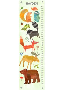 Textured Woodland Animals By Amy Schimler Safford Personalized Canvas Growth Chart
