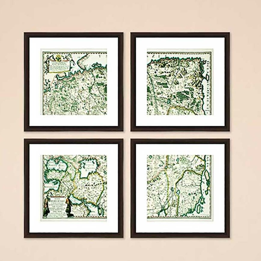Ptm Images Old World Map 4 Piece Framed Graphic Art Print Set Wayfair