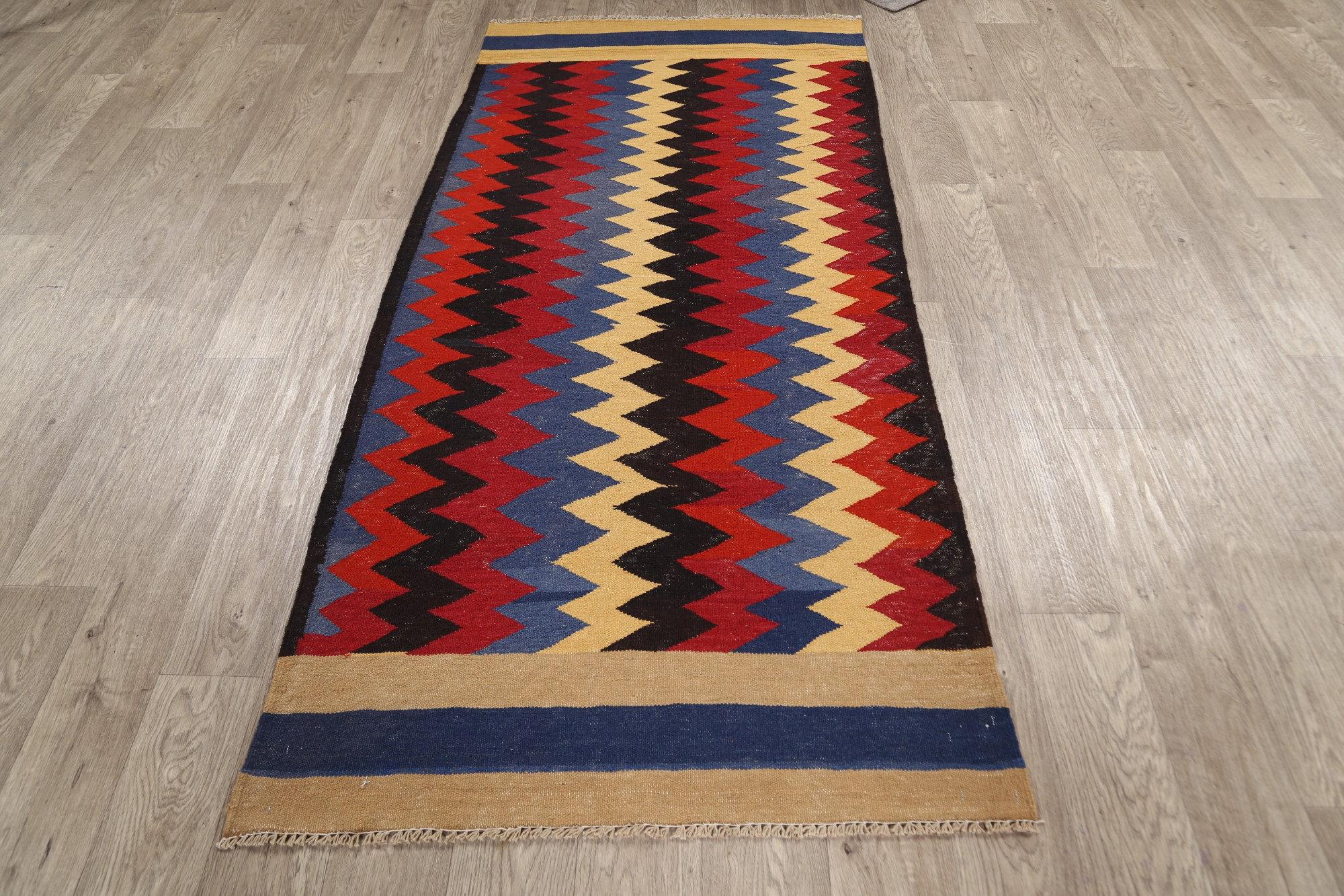 Rugsource Runner Chevron Handmade Kilim Wool Red Black Yellow Area Rug Wayfair