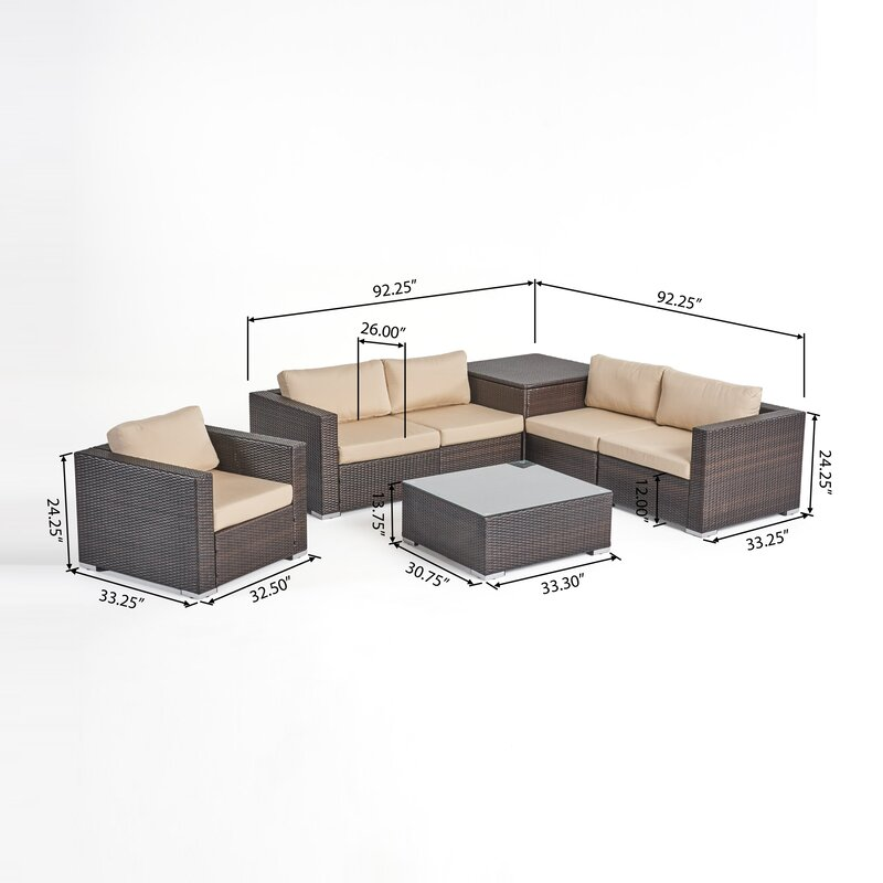 5 Seater Wicker Sectional Sofa Set