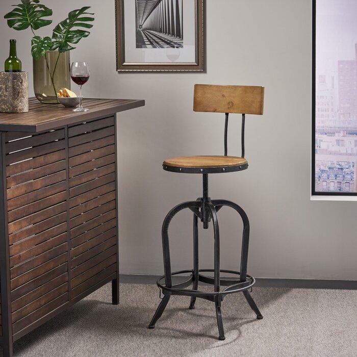 Groovy Oria Adjustable Height Swivel Bar Stool Beatyapartments Chair Design Images Beatyapartmentscom