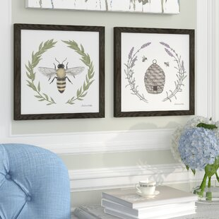 00030d48e18  Happy to Bee Home I  2 Piece Framed Graphic Art Print Set