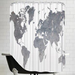 Ikonolexi World Map1 Shower Curtain ByBrayden Studio