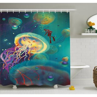 Giant Jellyfish and Diver in the Sea Underwater Submarine Aquatic Art Shower Curtain Set