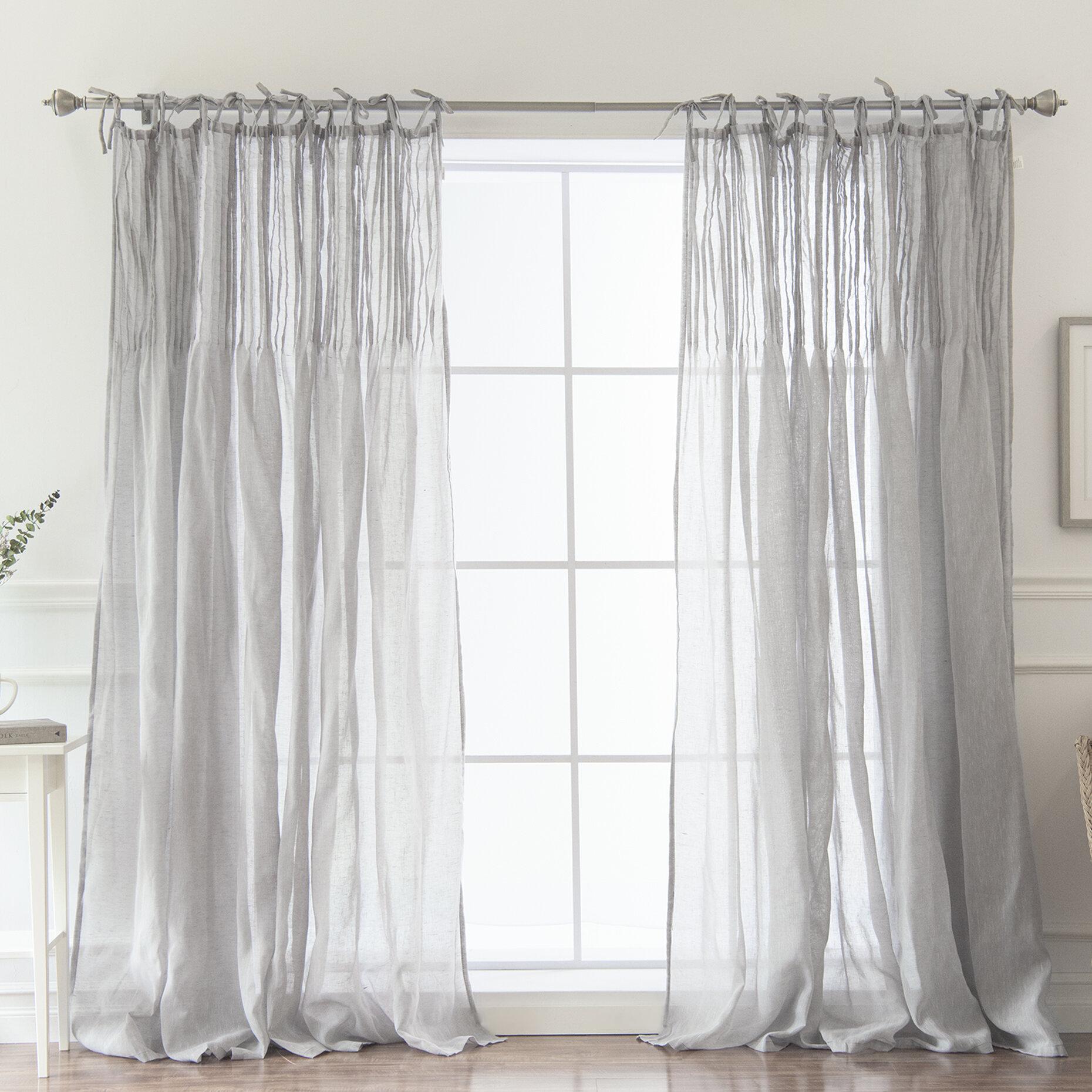 Lark Manor Poivrée Solid Sheer Pinch Pleat Single Curtain Panel ...
