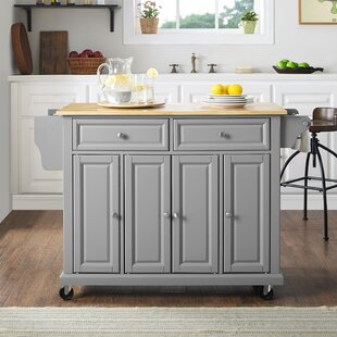 Hedon Kitchen Island with Natural Wood Top Three Posts